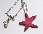 Starfish necklace Enameled beach jewelry Handcrafted pink aquatic pendant