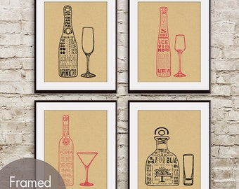 Champagne, Ice Wine, Vodka and Tequila (Top Shelf Alcohol Series) Set of 4 -  Art Prints (Featured in Tac Board)