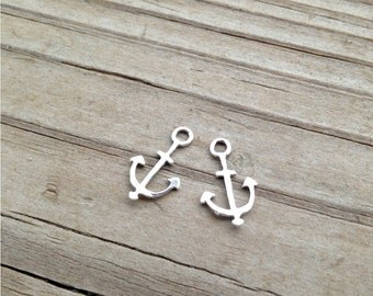 SALE - 2 Small Sterling Silver Anchor pendants, charms, earrings - Made in the USA