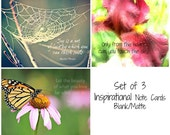 Inspirational note cards - nature photography, famous quotes, butterfly & coneflower, iris, spider web, blank notes - Set of 3