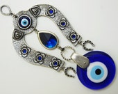 Horse Shoe Evil Eye Wall Hanging Handmade Silver Plated
