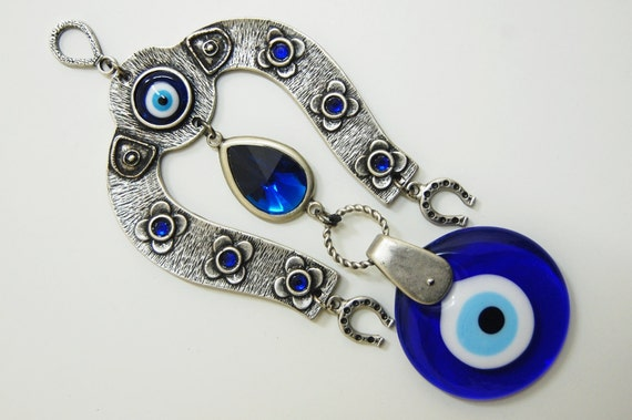 Evil Eye Wall Hanging items similar to horse shoe evil eye wall hanging handmade silver