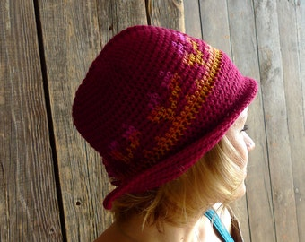 Red Earflap Hat, Crochet Brim Hat, Cloche, Wool Beanie, Folk Winter Accessories - Tapestry Crochet - Yellow Pink Ombre - Women Adult