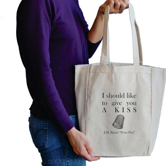 i should like to give you a kiss Peter Pan book tote bag