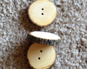 8 Wooden tree branch buttons, rustic buttons, bark buttons, unique buttons