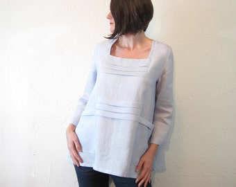 Linen Tunic - Oversized Tuck Tunic with large pockets