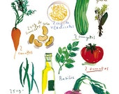 Kitchen art, 11X14 Vegetable print of french soup recipe Watercolor illustration, Food poster, Culinary art kitchen decor