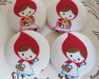 4 Little Red Riding Hood fabric covered buttons 1 1/8 inches