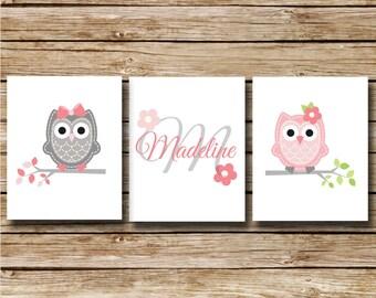 Custom Nursery Print - Pink Owls