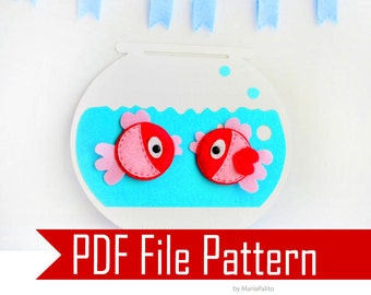 Fish Felt Magnets and fish bowl  Sewing pattern - PDF ePATTERN  Instant Download A296