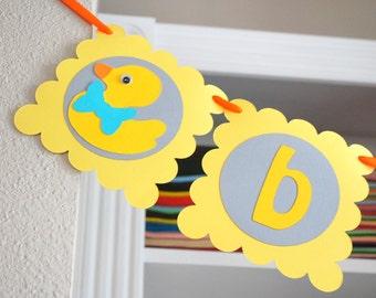 Duck banner, Baby Shower Banner , Duck BABY Banner,  Rubber ducky banner , Duck Baby Shower, yellow and grey, baby duck party A685