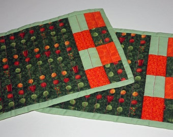 Quilted Mug Rugs Green-Orange Coffee Mugs and Circles Patchwork Set of Two