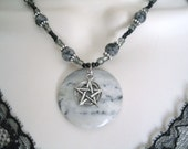 Portoro Marble Pentacle Necklace, wiccan jewelry pagan jewelry wicca jewelry goddess pentagram witchcraft metaphysical witch wiccan necklace