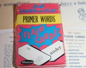 Vintage Primer Words Flash Cards
