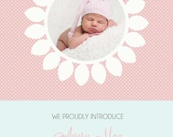 Flower Frame Birth Announcement GIRL BOY ANNOUNCEMENT