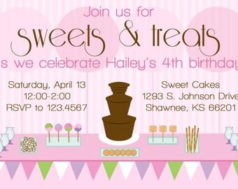 Sweet Treats Birthday Invitation SWEET CHOCOLATE FOUNTAIN