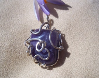 Amethyst pendant,  Silver smithed and wire wrapped pendant, Amethyst necklace, OOAK, Sterling Silver