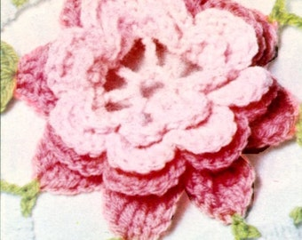 Rose Crochet Bedspread Vintage PATTERN PDF and Bonus Flower Tutorial 299 from WonkyZebra