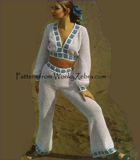 Items Similar To Crochet Granny Square Pants Suit 279