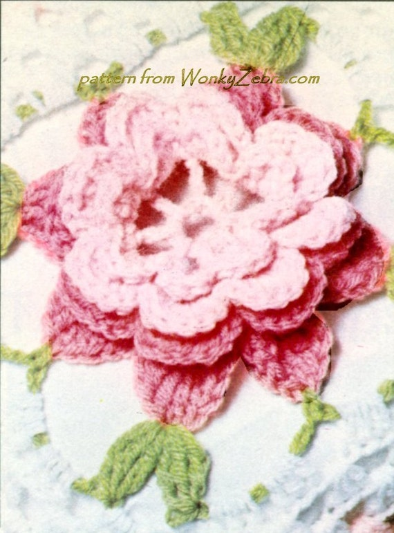 Rose Crochet Bedspread Vintage PATTERN PDF and Bonus Flower