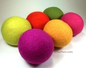 Wool Dryer Balls - Neon Delight - Set of 6 Eco Friendly - Can be Scented or Unscented