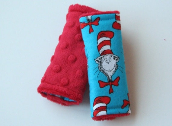 Reversible Strap Covers - The Cat in the Hat w/ Red Minky