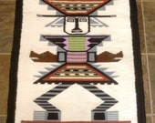 Vintage Mexican wool wall hanging rug AZTEC
