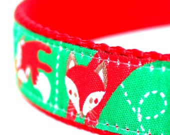 Red Fox Dog Collar, Adjustable Collar, Ribbon Pet Collar, Woodland Dog Collar