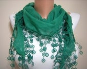 New - Mother's Day Gift Scarf - Pashmina Scarf in Green with Trim Edge Scarf for Spring and Summer Fashion