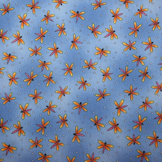Bright lightning bugs on blue cotton fabric yardage childrens for Bright childrens fabric