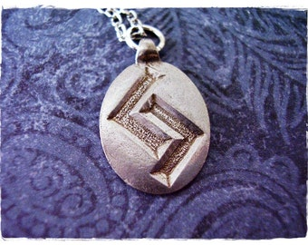 Silver Ger Rune Necklace - Antique Pewter Ger Rune Charm on a Delicate Silver Plated Cable Chain or Charm Only