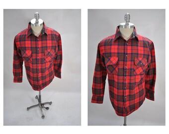 vintage shirt mens plaid wool blend indie lumberjack medium