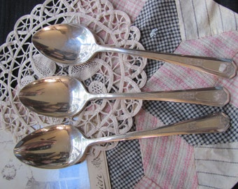 6 Vintage Silver Plate Large Serving Spoons - La France 1920 Pattern