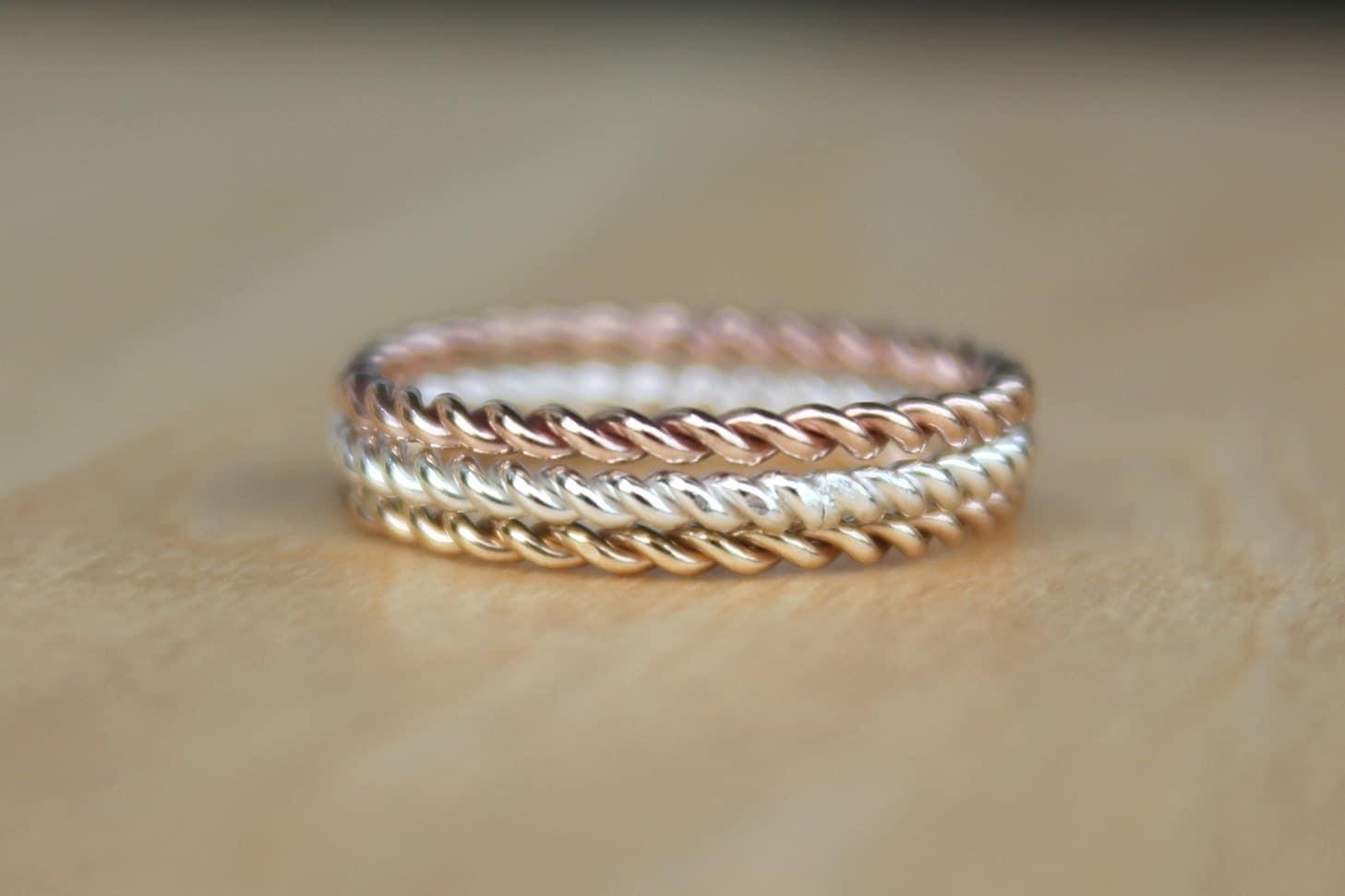 3 tone twist rings rose pink gold twist ring yellow gold
