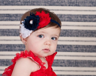 Fourth of July Headband. Red, White & Navy Shabby Flower Headband. July 4th. Baby Headband. Babies 1st Fourth of July. Hair Accessories