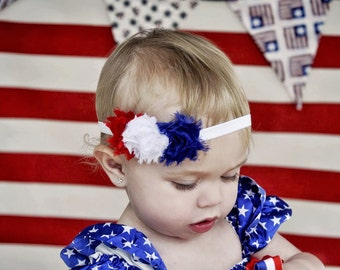 Fourth of July Baby Headband. Red, White and Blue Flower Headband, Baby Headband, Baby Hair Accessories, Baby Girls Hair Accessories
