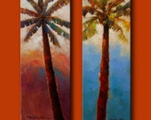 Pair of Original Canvas Palm Tree Paintings 14x40 each.
