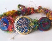 Recycled Silk Colour Changing Rainbow Chakra Bracelet