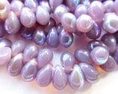 100 Czech Glass Tiny Tear Drop Beads in a Lavender Opal AB  Size 4x6mm