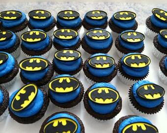 Gumpaste Cupcake BATMAN symbol toppers Gum Paste