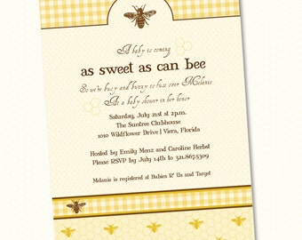 Bee Baby Shower Custom Printable Invitation