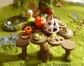 RESERVED listing for Ilse - OOAK Fairy table in miniature for dollhouse or terrarium -