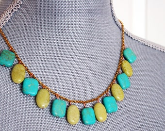 TURQUOISE Necklace stone blue under 50 pendant neon metal boho teal birthday jade lime green for her bright gold plated