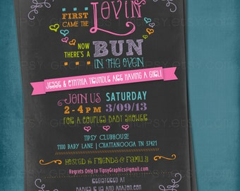 Colorful Rainbow Chalkboard Bun in the Oven Baby Shower Invitation by Tipsy Graphics. Any colors
