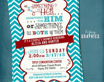 Something for Him, Her or Something for the Both of Them. CHEVRON Co-Ed Wedding Shower Invite By Tipsy Graphics. Any colors