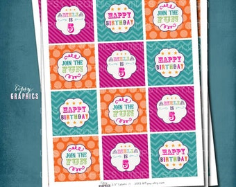 Join the Fun. Circus Party Circles by Tipsy Graphics. Printable File. Cupcake Toppers or Favor Tags