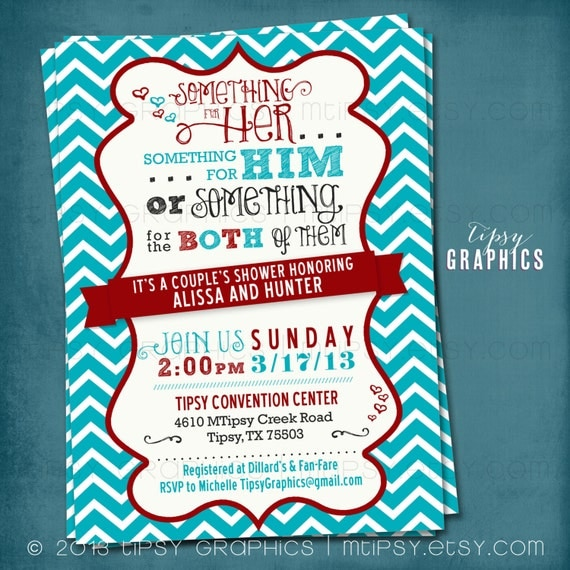 coed couple's wedding shower invite. chevron. something, Wedding invitations