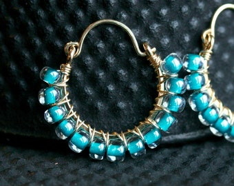 Turquoise glass hoop earrings, teal, blue, Czech glass, wire wrapped hoops, beaded, 14k gold filled, Mimi Michele Jewelry