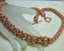 PATTERN Rolled Taffy Necklace or Bracelet Super Duo Seed Beads Crystals Herringbone