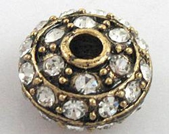 5pcs clear crystal with antique bronze color metal roundel pave ball